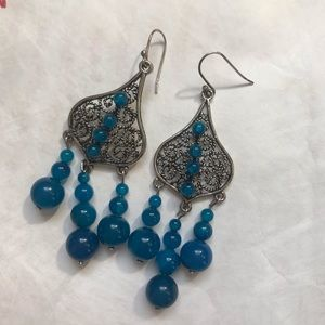 Jewelry - Dangling statement earrings, handcrafted, silver